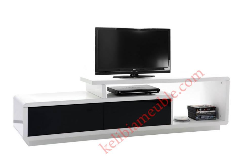 meuble tv moderne noir et blanc david. Black Bedroom Furniture Sets. Home Design Ideas