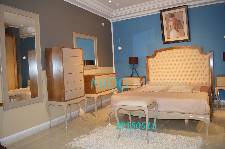 chambre à coucher moderne tête de lit capitoné